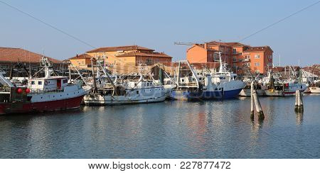 Chioggia, Ve, Italy - February 11, 2018: Big Fishing Boats Moored In The Industrial Port On The Adri