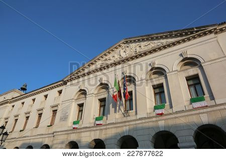 Many Italian Flags On Palace Of Town Hall In Chioggia Island Near Venice In Italy