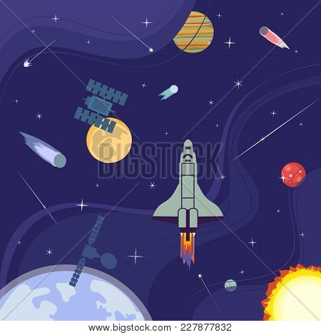 Outerspace Poster. Colorful Abstract Flat Cartoon. Satellite In Cosmos Milky Way. Moon, Earth Planet