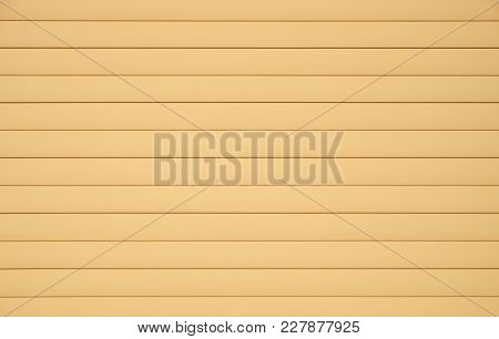 Background From Horizontal Beige Siding Panels, Protected Wooden Building From Bad Weather Condition