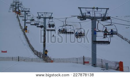 Ski Lift In Covatilla Station In Bejar, Salamanca