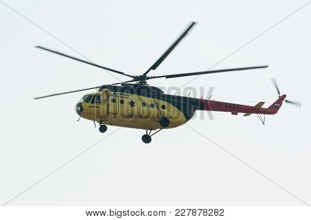 Tyumen, Russia - August 11, 2012: On A Visit At Utair Airshow In Plehanovo Heliport. Passenger Helic