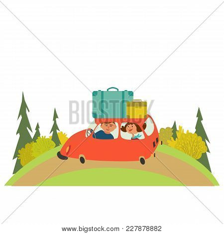 Travelling By Car Icon. Young Happy Travellers Take A Trip By Rent Automobile. Family On Honeymoon V