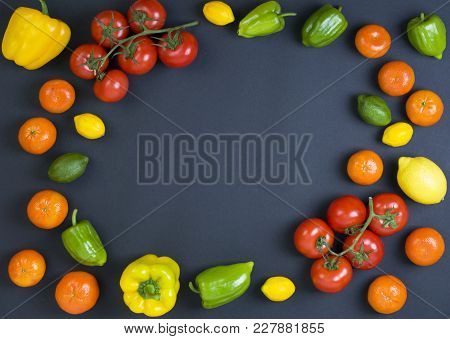 Variety Of Raw Vegetables, Culinary Concept. Assortment Of Vegetables And Herbs On Grey Stone Backgr
