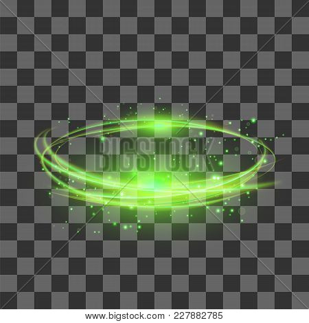 Transparent Light Effect Isolated On Checkered Background. Green Lightning Flafe Design. Gold Glowin