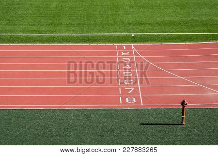 Local Stadium And Running Track With Numbers