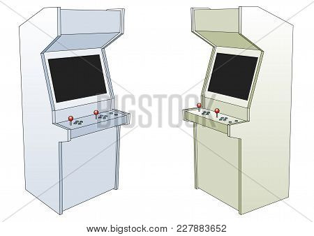 Two Classic Arcade Game Machines Isolated Over White