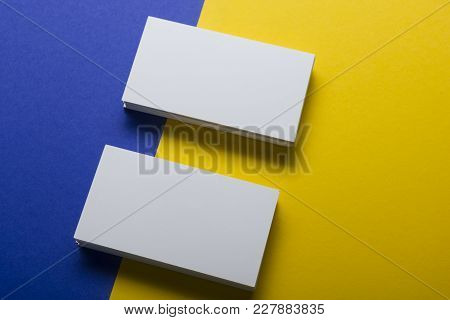 Business Cards Mockup On Color Background. Flat Lay. Copy Space For Text.
