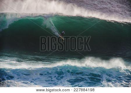 Image Of Surfer On Blue Ocean Big Mavericks Wave In California, Usa. Surfer Riding In Tube. Gun Surf