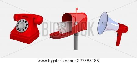 Phone, Mail Box, Megaphone. Means Of Communication. Set Of Objects Isolated On White Background. Rec