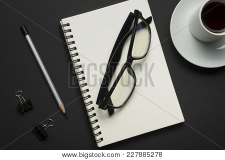 Office Desk Table With Supplies. Flat Lay Business Workplace And Objects. Top View. Copy Space For T