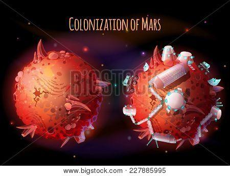 Colonization, Exploration And Terraforming Of Mars, Vector Concept Illustration. Futuristic Landscap