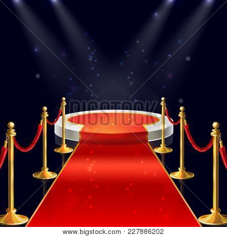 Vector Realistic Illustration Of White Round Podium With Velvet Carpet, Red Ropes And Golden Stanchi