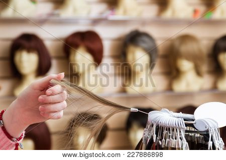 Girl In Her Hand Chooses A Hair Color Wig Of A Natural Blond. A Palette Of Hues Of Hair Color In A S