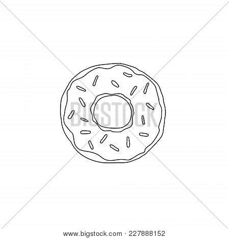 Vector Donut Illustration With Glaze. Sweet Dessert