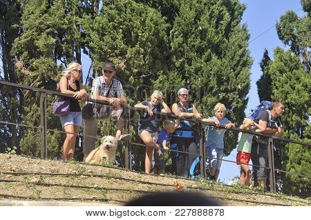 Beziers, France - September 4, 2017: Spectators On The Locks Of Fonterannes When Passing A Boat