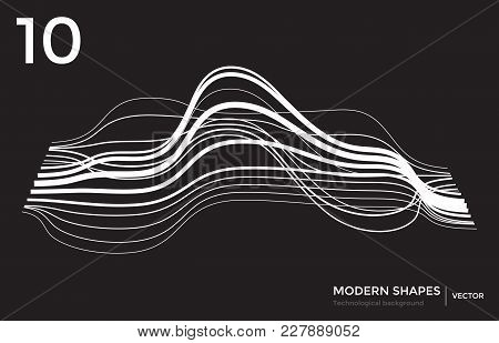 Abstract Vector Landscape Background. Cyberspace Landscape. 3d Technology Illustration. Big Data Per