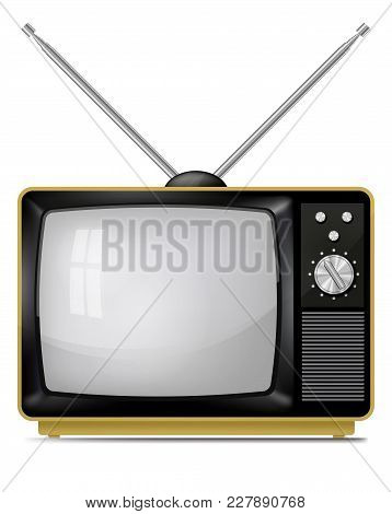 Realistic Vector Illustration Of Retro Portable Tv, Television Set With Telescopic Antenna.
