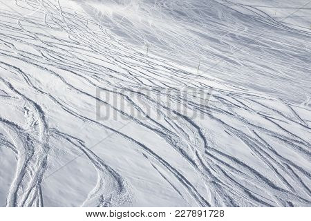 Ski Slope For Freeride And Slalom With New-fallen Snow And Trace From Skis And Snowboards At Sun Win