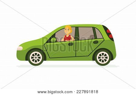 Young Woman In A Car - Cartoon People Character Isolated Illustration On White Background. An Image