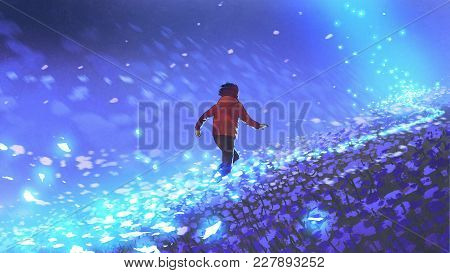 Night Scenery Of The Boy Running On Blue Meadow With Glowing Petal Of Flowers, Digital Art Style, Il