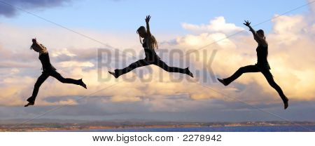 Leaping Woman At Sunset