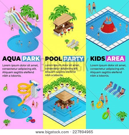 Aquapark Vertical Web Banners With Different Water Slides, Family Water Park, Hills Tubes And Pools