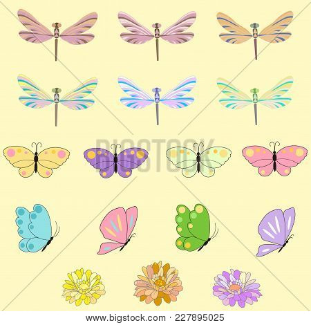 Spring Set For Design Of Multicolored Butterflies, Dragonflies And Flowers.