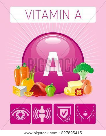 Retinol Vitamin A Food Icons. Healthy Eating Flat Icon Set, Text Letter Logo, Isolated Background. D
