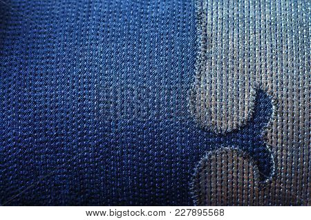 Texture Of Sewnn Jeans Fabric With Decorative Element