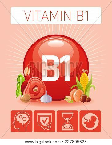 Thiamine Vitamin B1 Food Icons. Healthy Eating Flat Icon Set, Text Letter Logo, Isolated Background.