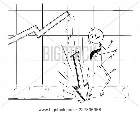 Cartoon Stick Man Drawing Conceptual Illustration Of Businessman Almost Hit By Profit Graph Or Chart