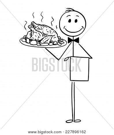 Cartoon Stick Man Drawing Conceptual Illustration Of Waiter Holding Silver Plate Or Tray With Roast