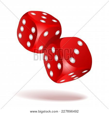 Red Dice With White Pips. Two Red Falling Dice Isolated On White. Casino Gambling Template Concept.