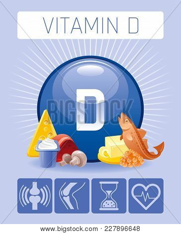 Cholecalciferol Vitamin D Food Icons. Healthy Eating Flat Icon Set, Text Letter, Isolated Background