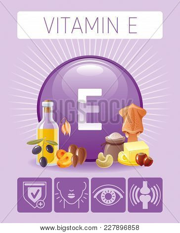 Vitamin E Tocopherol Nutrition Food Icons. Healthy Eating, Antioxidant Supplement Text Letter Logo,