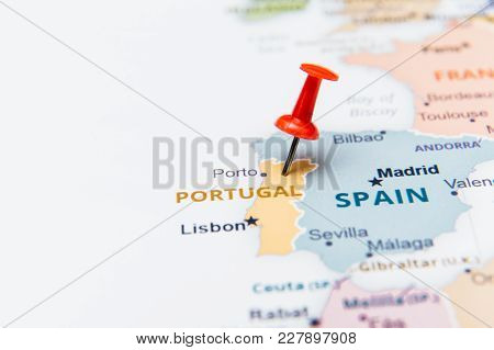 Map Of Portugal With A Red Pushpin.