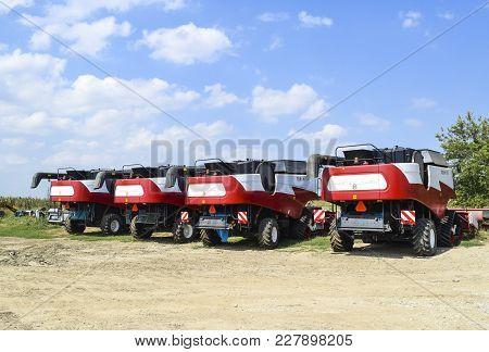 Russia, Poltavskaya Village - September 6, 2015: Combine Harvesters Torum Agricultural Machinery