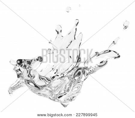 Splashing And Whirl Water Liquid For Design Uses Isolated On White Background In 3d Illustration. Sp