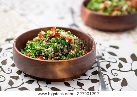 Healthy Vegetarian Salad Bowl. This Healthy Dish Mixes Tabbouleh & Greek Style Salads, Using Fresh P