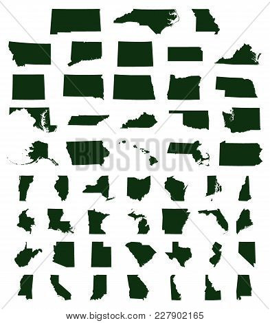 Set Of Us States Map On A White Background