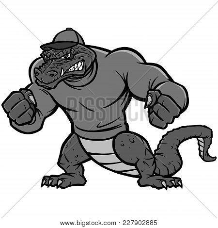 Gator Mascot Extreme Illustration - A Vector Cartoon Illustration Of A Sports Team Gator Mascot.