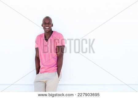 Black Male Fashion Model Smiling By White Background