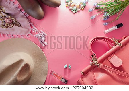 Spring Female Outfit. Set Of Clothes, Shoes And Accessories On Pink Background