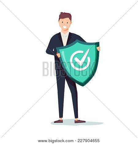 Protected From Attack Concept. Defender Security Business Metaphor. Man Is Holding A Shield Reflecti