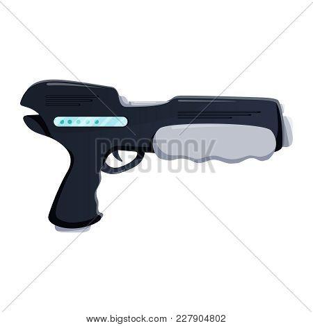 Futuristic Gun Vector Illustrator. Weapon Flat Icon. Hi Tech Laser Pistol. Cartoon Retro Space Blast