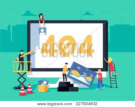 Error 404 Page. Builders Repair Site With Crane. Flat Vector Illustration In Cartoon Style. Page Not