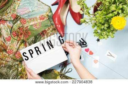 Spring Summer Fashion Look With Floral Prints, Red Shoes, Ranunculus Flower, Text Frame Spring Summe