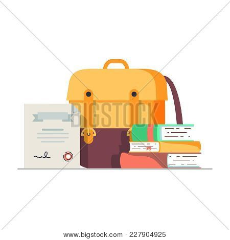 Back To School Concept Flat Vector Design. Backpack With Books And Diploma Cartoon Illustration For