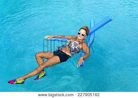Woman Doing Auqua Fitness